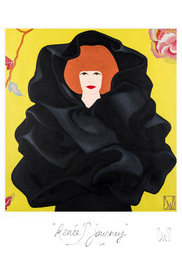 """RENÉE IN ""LE CHOU NOIR"" AN AMAZING 1967 CREATION BY CRISTÓBAL BALENCIAGA, THE FLOWERS FROM CASAMANCE SHE BORROWED FROM CLAIRE TONDELEIR, A WONDERFUL COMBINATION...""."