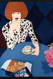 """AFTER A SUCCESSFUL BUSINESS MEETING, AND DRESSED IN HER FAVORITE VINTAGE DIANE VON FÜRSTENBERG WRAP DRESS, RENÉE TREATS HERSELF WITH THE BEST COOKIES WHILE HAVING HER CAPPUCCINO...""."