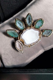 "Renée's unique ""TEAR OF JOY"" brooch.Designed in collaboration with jewelry designer Karolin."