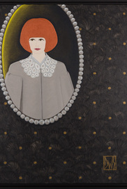 """PEARL FRAMED PORTRAIT OF RENÉE IN HER GIRLIE ORGANZA LV BLOUSE, HANGING ON THE WALL OF HER GODMOTHER'S LIBARY""."