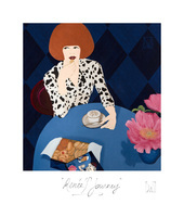"""""""AFTER A SUCCESSFUL BUSINESS MEETING, AND DRESSED IN HER FAVORITE VINTAGE DIANE VON FÜRSTENBERG WRAP DRESS, RENÉE TREATS HERSELF WITH THE BEST COOKIES WHILE HAVING HER CAPPUCCINO...""""."""