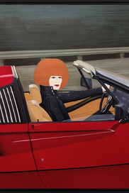 """MOVE OVER MAGNUM! RENÉE LOVES FAST CARS BUT THAT DOESN'T MEAN SHE DRIVES FAST. IN HER 60'S COURRÈGES JACKET SHE ENJOYS CRUISING IN THIS OLDTIMER FERRARI...""."